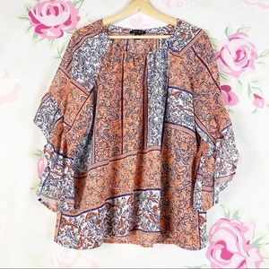 Como Black Floral Ruffle Bell Sleeve Blouse L